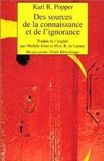 Couverture Des sources de la connaissance et de l'ignorance