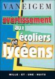 Couverture Avertissement aux écoliers et lycéens