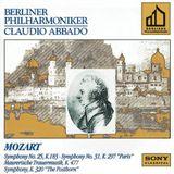 "Pochette Symphony No. 25, KV 183 / Symphony No. 31, KV 297 ""Paris"" / Maurerische Trauermusik, KV 477 / Symphony, KV 320 ""The Posthorn"""