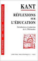 Couverture Réflexions sur l'éducation