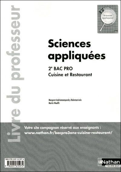 Affiches posters et images de sciences appliquees 2eme - Programme bac pro cuisine ...