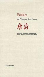 Couverture Poésies de l'époque des Thang