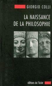 Couverture La Naissance de la philosophie