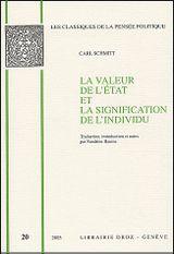 Couverture La valeur de l'Etat et la signification de l'individu