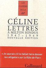 Couverture Lettres à Milton Hindus (1947-1949)