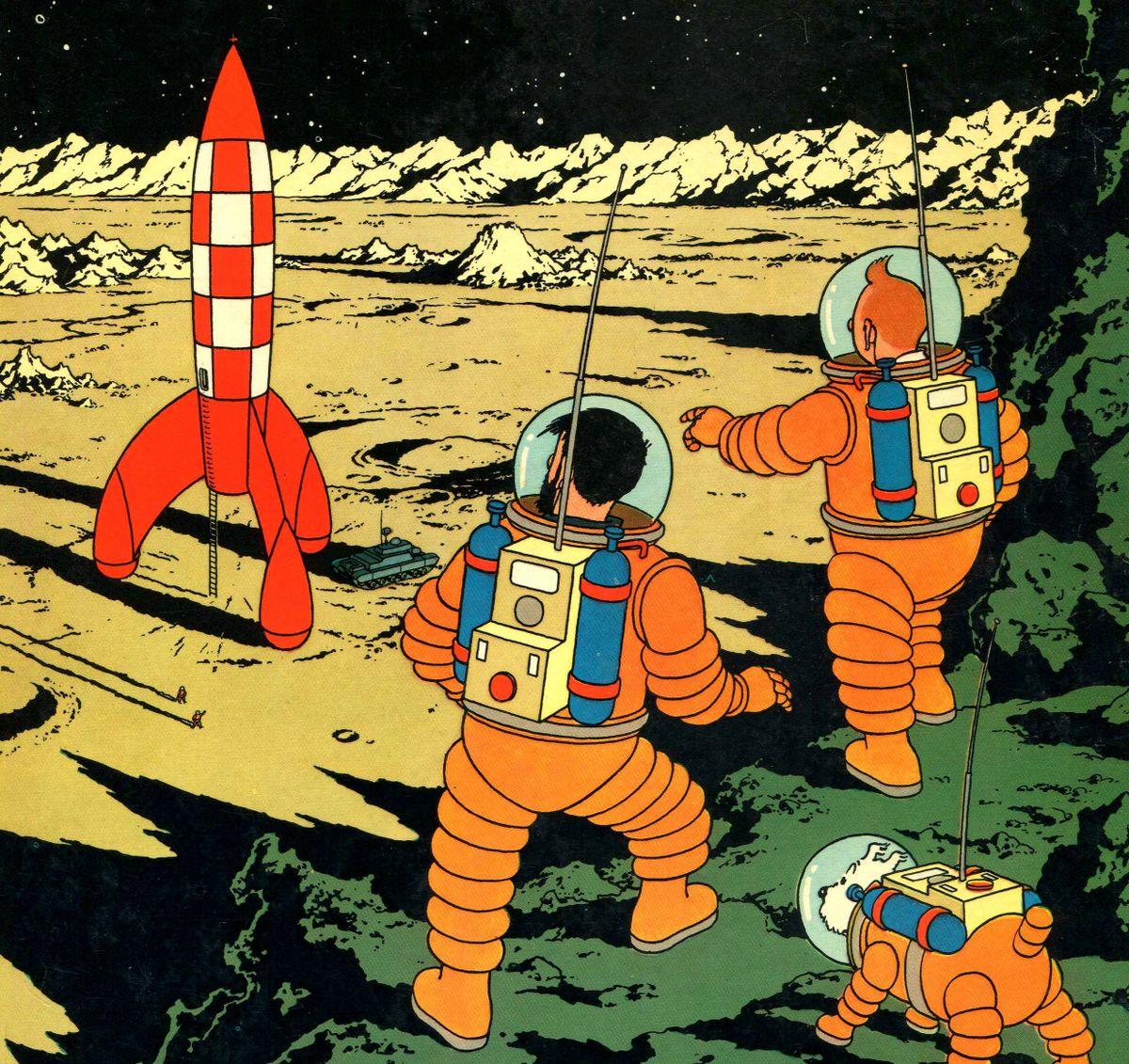 on a marche sur la lune tintin