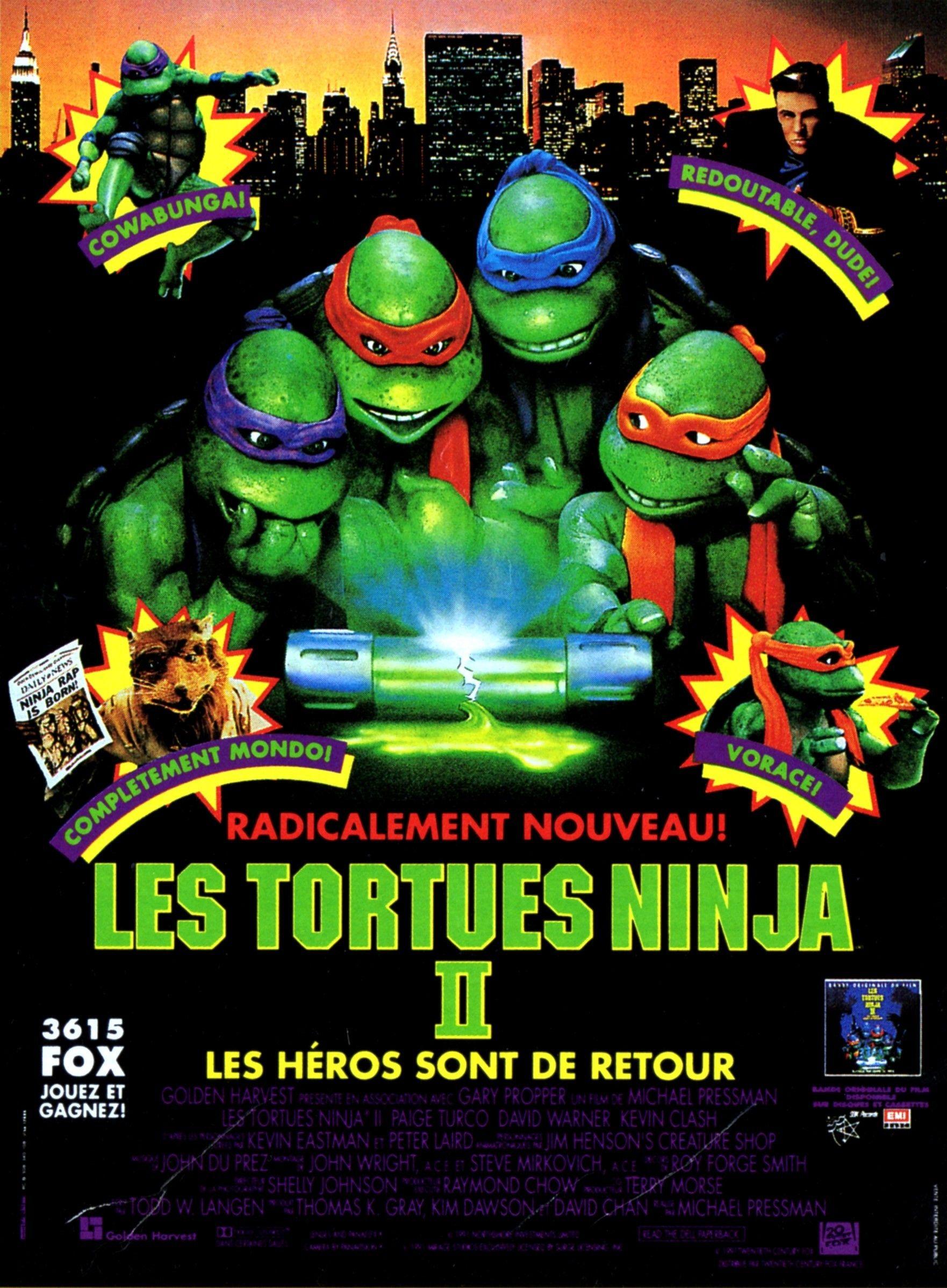 Les tortues ninja 2 les h ros sont de retour film 1991 - Le nom des tortue ninja ...