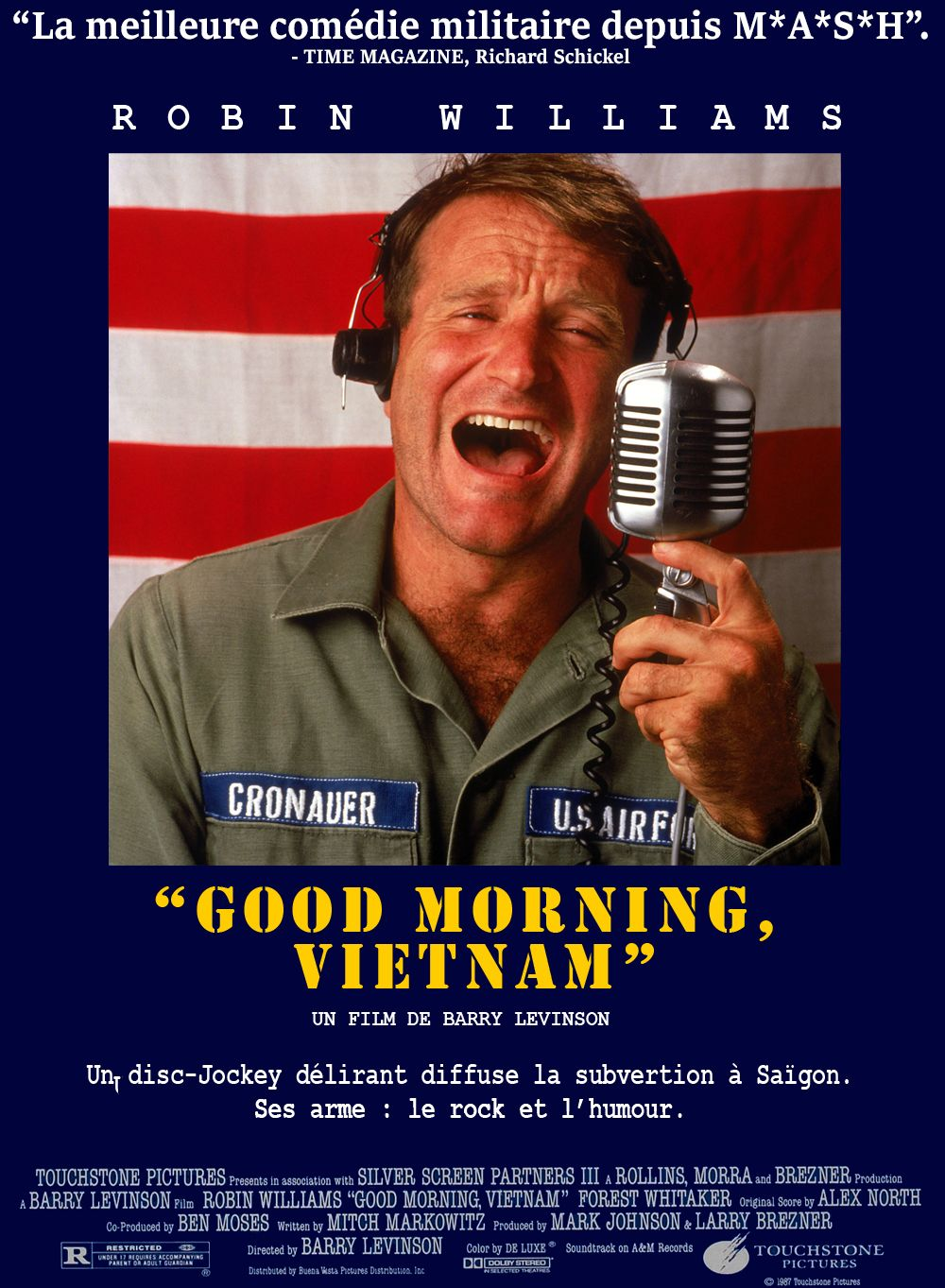 a review of the film good morning vietnam In good morning vietnam, barry levinson's exaggerated account of the dj's antics, robin williams is cronauer and finally gets the perfect vehicle to express his furious comic talent.