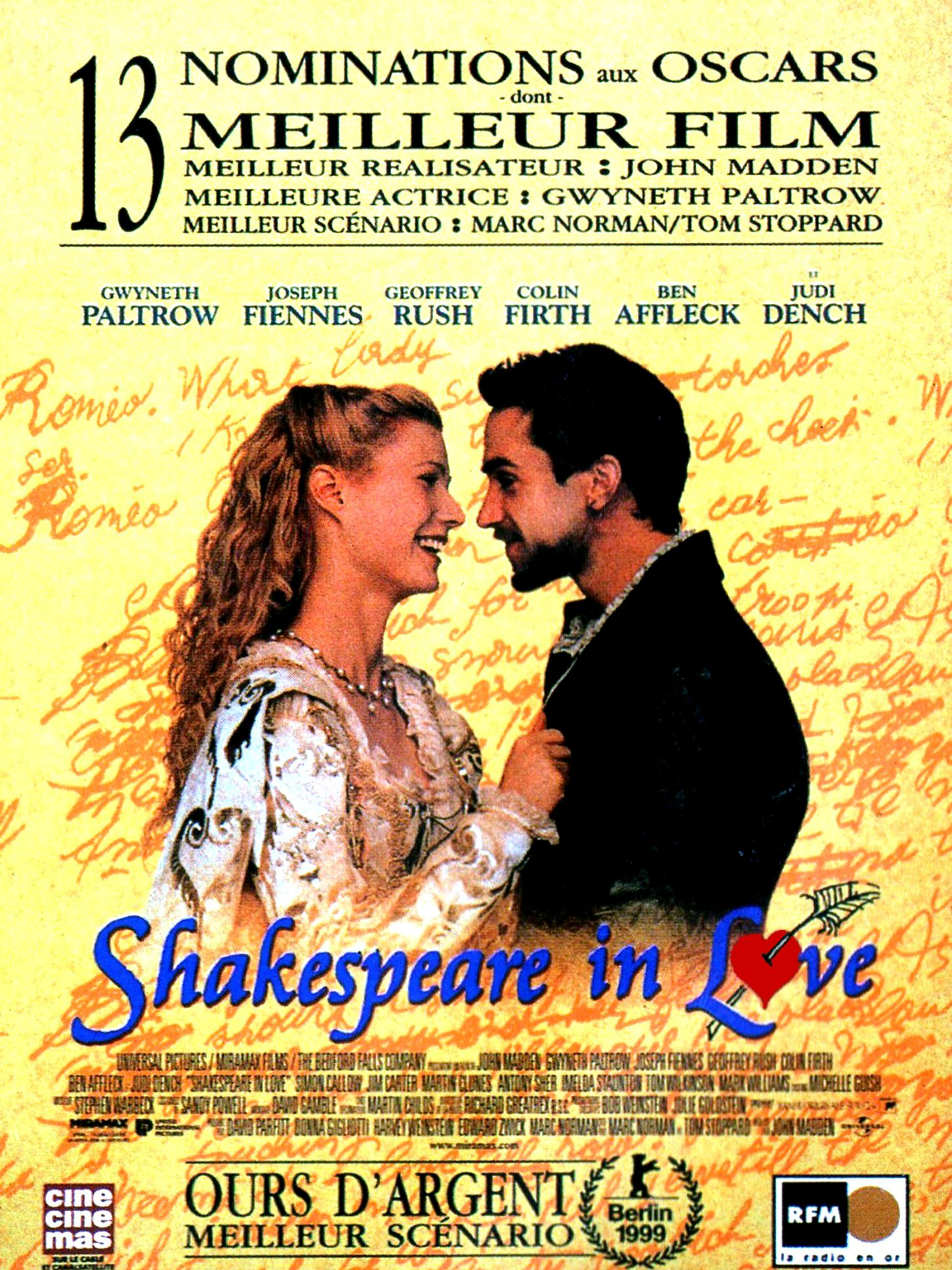analysis of film shakespeare in love Cinematic aspects of film in [shakespeare in love] movement shots lighting editing focus sound angles mise-en-scène: ----meaning placing on the stage, this french term is used to define the arrangement of aspects within a scene fitting of the scenario.
