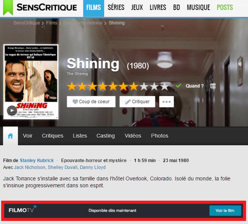 Illustration Pendant ce temps-là, SensCritique nous donne la possibilité de voir les films sur FilmoTV ! (...)