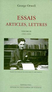 Couverture Essais, articles, lettres (1943-1945)