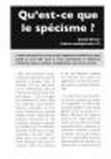 Couverture Qu'est-ce que le spécisme ?