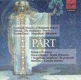 Pochette Cantus in Memory of Benjamin Britten / Summa / The Beatitudes / Fratres / Festina Lente / Magnificat / Silentium / Statuit ei Do