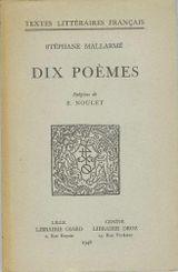 Couverture Dix poèmes de Stéphane Mallarmé
