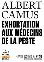 Couverture Exhortation aux médecins de la peste