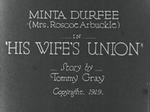 Affiche His wife's union